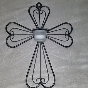 Cross votive wall decor